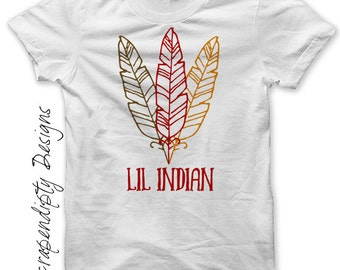 Iron on Thanksgiving Shirt - Lil Indian Iron on Transfer Tee / Thanksgiving Feather Childrens Clothing / Baby Boy Thanksgiving Outfit IT470