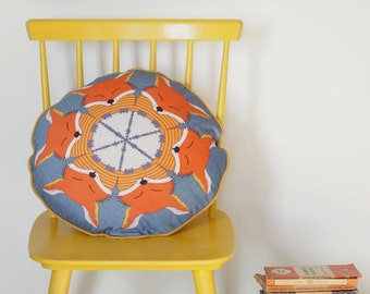 Fox round piped cushion pillow
