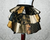 20% OFF SALE Custom Made Patchwork Ruffle Bustle Overskirt - 3 Layer, Sz. XS - Your Choice of Colors