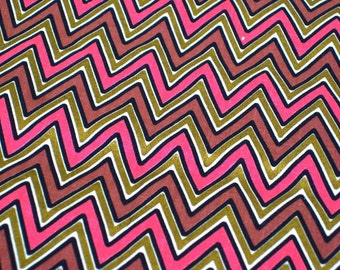 """Vintage Fabric - Chevron - Metallic Gold, Pink & Brown - By the Yard x 36""""W - Retro - Sewing Material - Craft Supply - Yardage"""