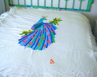 Vintage Wool Blanket - Gorgeous Hand Embroidery Peacock - Fringe - Retro Wool Blanket - Crewel Embroidery - Wool Yarn - Vintage Home Decor