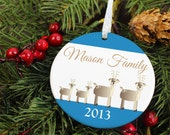 Reindeer Family Christmas - Personalized Porcelain Ceramic Holiday Ornament - orn28 - Peachwik - Custom Family Name