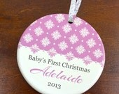 Baby's First Christmas Ornament - Elegant Personalized Porcelain Newborn Holiday Ornament  - New Baby Shower Gift - orn73 - Custom Colors