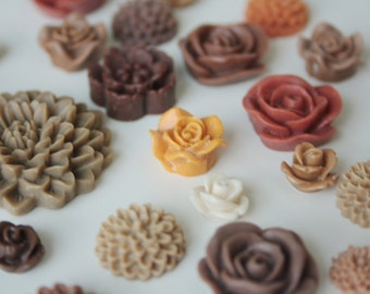 25pc Brown and Beige Resin Flower Cabochon Mix, Mixed Resin Cabochons to Make Earrings, Rings, and Hairpins
