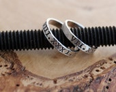 Roman Numerals His & Hers Personalized Stacking Rings - Hand Stamped, Sterling Silver set of 2 - Johnson Rings