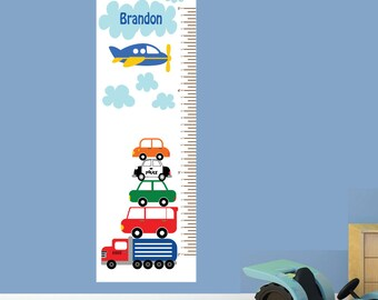 Boys Growth Chart, Fabric Wall Decal, Cars Growth Chart Decal