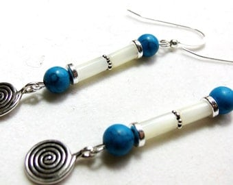 Charmed Earrings,  silver with shell tube beads and turquoise stones....
