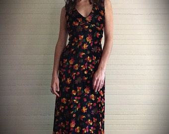 Desert Rose Vintage Black Velvet Floral Maxi Dress