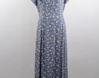 Vintage Floral Print Maxi Dress by Ann Taylor circa 1980s in Grey Blue & Pastel Colors.   Size 12