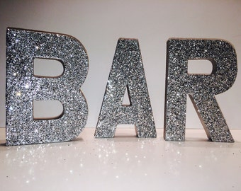 3D Photo Props - BAR - Self Standing Glittered BAR letters - You Choose Color
