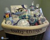 Large BabyBinkz Gift Basket - Unique Baby Shower Gift or Centerpiece cute girl boy neutral cupcake milkshake lollipop candy wicker basket