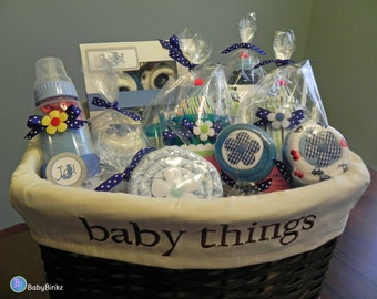 Baby shower gift baskets home design ideas large babybinkz gift basket unique baby shower gift or centerpiece cute girl boy neutral cupcake negle Choice Image
