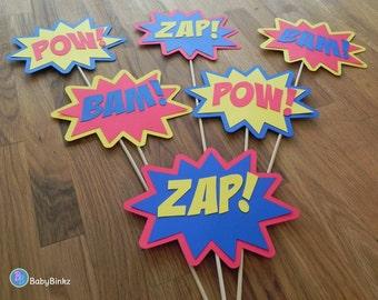 Photo Props: The Superhero Phrase Set (6 Pieces) - party wedding birthday mask pow bam zap super hero centerpiece