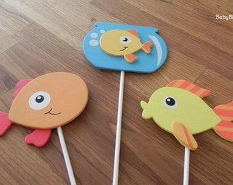 Goldfish Shape Cake Toppers or Party Decorations goldfish aquarium ocean fish bowl yellow orange blue
