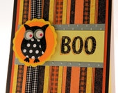 Handmade Greeting Card, Happy Halloween, Owl Boo, Orange and Black Stripes