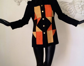Vintage 60s MOD Mad Men Jacket 1950s Rockabilly Suede Leather & knit Geometric  1960s Carnaby Street Twiggy Top Black Orange Mustard Yellow