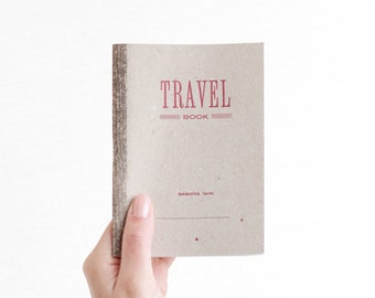 TRAVEL BOOK - red - letterpress printed notebook - blank - TRA06005R