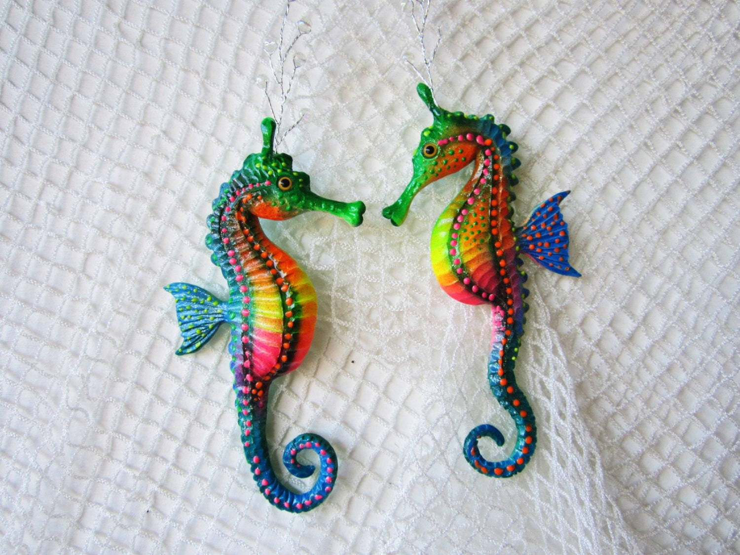 Colorful seahorse bathroom decor