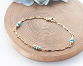 Turquoise Bracelet, Turquoise Gold Bracelet, Teal Blue stone Jewelry, December Birthstone Jewelry, Romantic Weddings, Feminine and Dainty,