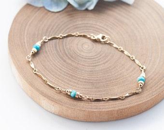 Turquoise Bracelet, Turquoise Gold Bracelet, Teal Blue stone Jewelry, December Birthstone Jewelry, Romantic Weddings, Feminine and Dainty,