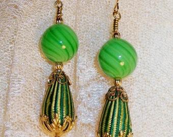"GLASS & FIBER EARRINGS - ""Curvacious"" - Fabulous Shades of Green, Vintage Striped Fabric Bead, Blown Glass, Classic Beauty w/Modern Edge"