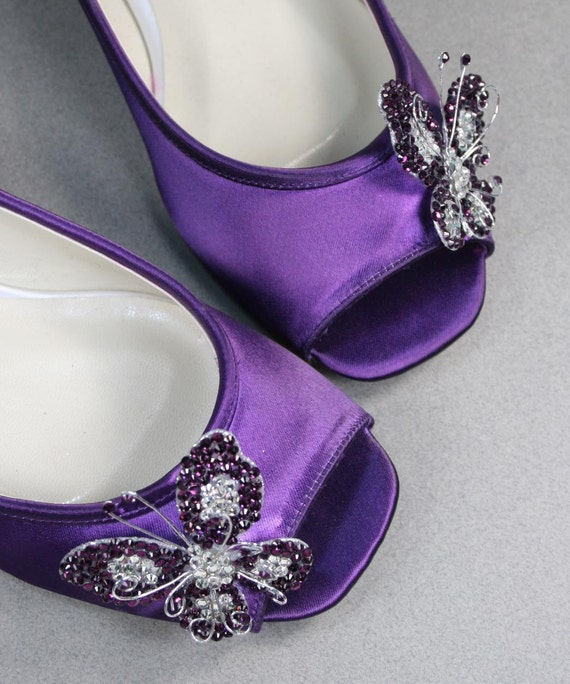 Wedding Shoes Purple Peep Toe Flats With By DesignYourPedestal