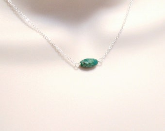 Genuine Turquoise Necklace / Minimal Simple / Single Stone / Dainty Sterling Silver Necklace / Boho / Gift for Women