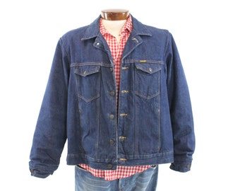 Vintage 80s Wrangler Denim Jacket Buffalo Plaid Blanket Lined Jacket Trucker Jacket Outdoor Dark Blue Mens Outerwear Coat 1980s XL Large L
