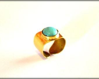 Turqoise Ring, Statement Ring, Artisan Ring, Gemstone Ring, Blue Ring
