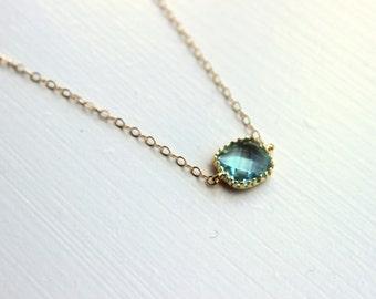 Dainty Prasiolite Green Necklace Gold Filled Chain - Bridesmaid Necklace - Wedding Jewelry - Valentines Day Gift - Gift under 25