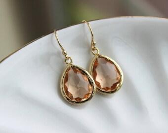 Blush Champagne Earrings Gold Peach Teardrop Jewelry - Pink Bridesmaid Earrings Wedding Jewelry Bridal Earrings Blush Bridesmaid Jewelry