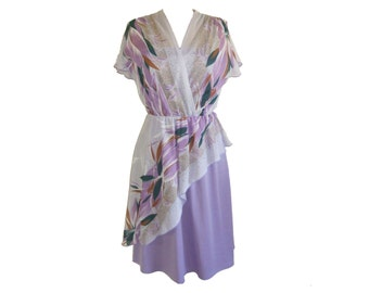 UK 8 80s lavender chiffon day dress with flutter sleeves by Wendy Small