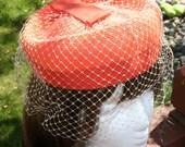 Vintage Hat Pill Box Orange