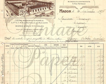 French Document Antique Invoice Fantastic Graphics & Typography from Vintage Paper Attic
