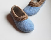 Women slippers - Felted slippers for woman - wool slippers - felt wool - women house shoes - eco friendly - blue beige - Mother's day gift
