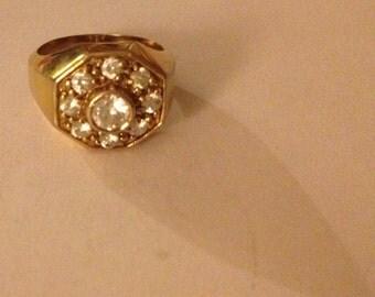 Octagon shaped Rhinestone Vintage Art Deco Gold Toned Metal Ring SIZE 8 beautiful FABULOUS finger flair