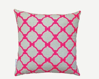 SALE: Giraffe cushion cover in Neon pink on natural linen/cotton 45cm x 45cm