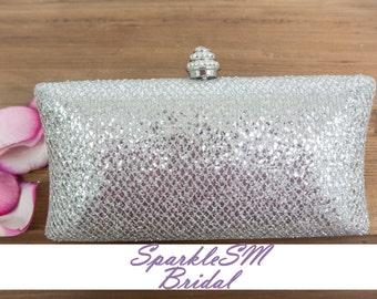Rhinestone Clutch, Bridal Clutch, Wedding Hand Bag, Wedding Purse, Rhinestone Minauderie, SparkleSM Bridal Sashes, Bridesmaids Clutch