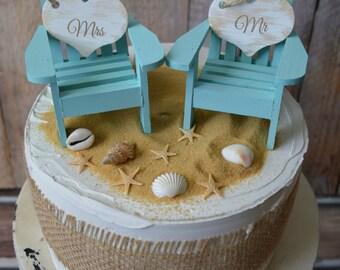 beach chairs-beach-wedding-cake topper-bride-groom-chairs-destination-miniature-Mr and Mrs-custom-Adirondack-small chairs-beach wedding