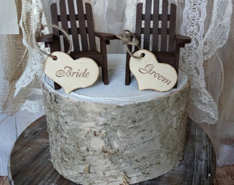 Adirondack-chairs-nautical-wedding-cake topper-miniature-destination-wedding keepsake-beach-bride- groom-Mr.and Mrs.-lake house-rustic