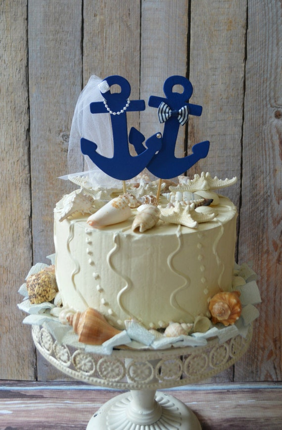 Items Similar To Anchors Away Wedding Cake Topper Anchors