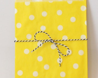 Yellow Polka Dot Party Favor Bags Yellow and White Goodie Bags Yellow Party Supplies Yellow Birthday Party Treat Bags Colorful / Set of 12