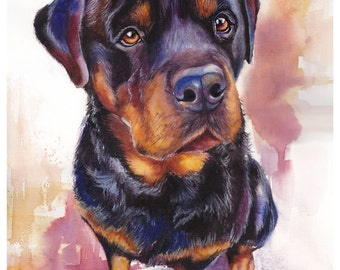 "5x7"" Rottweiler Watercolor Giclee Fine Art Print [Watercolor Pet Portrait, Rottweiler Art, Gift For Dog Lover, Dog Artwork, Dog Painting]"