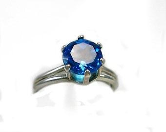 London Blue Topaz Ring in sterling silver, Ladies Gift Idea under 70, gift for her, modern December Birthstone,Blue gemstone ring