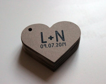 Custom Swing Tag Hearts for Wedding Favors Labels 2 inch - Set of 100 - Kraft Brown