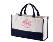 Monogram Canvas Vivera Carry All Tote Bag - Personalized Canvas Utility Tote Bag - Monogrammed Vivera Tote