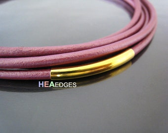 Curved Tube Beads - 6pcs Finding Gold Brass Curve Arc Tubes 45mm x 4.5mm ( Fit for 4mm Round Leather )