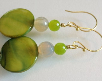Bright Green Shell with Green and Ivory Agates on Gold Filled Wire Beaded Earrings Handmade