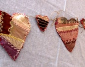 "Prim Crazy Quilt Garland Hearts Double Sided Valentine Hand Sewn Rustic 51"" Long 8 1/2"" Hearts"