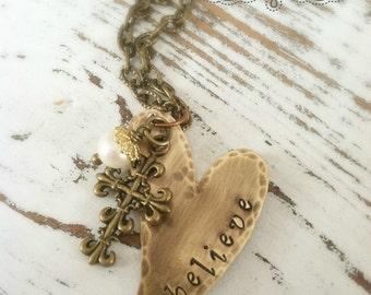 Stamped BELIEVE Heart Necklace Copper . Bronze . Believe . Cross . Faith Necklace . Faith Jewelry . Copper Necklace . Heart Necklace